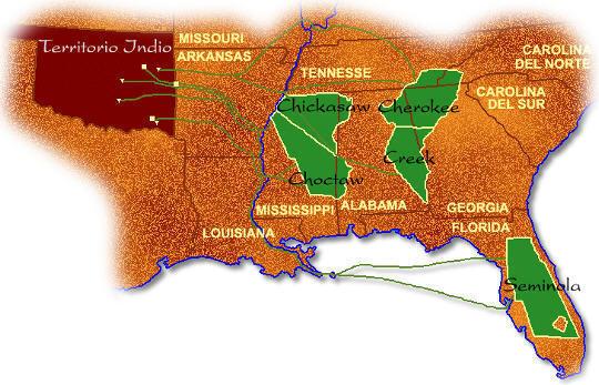 """Territorio ocupado por las llamadas """"cinco tribus civilizadas"""""""